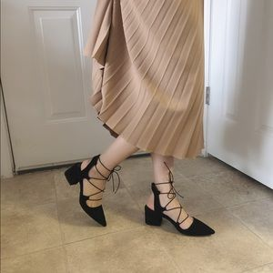 Laced up black heels from Zara